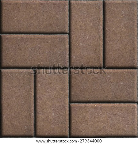 Brown Paving Slabs of Rectangles Laid Out on Two Pieces Perpendicular to Each Other. Stock photo © tashatuvango