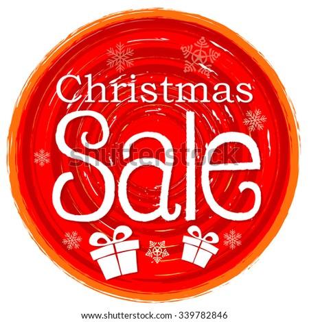 Christmas Sale And Gift Box On Circular Drawn Red Banner With Sn Stockfoto © marinini
