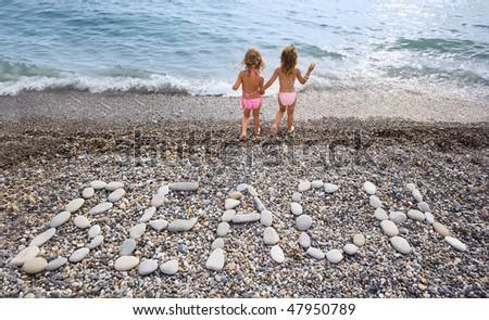 opschrift · stenen · strand · kust · twee · mooie - stockfoto © Paha_L