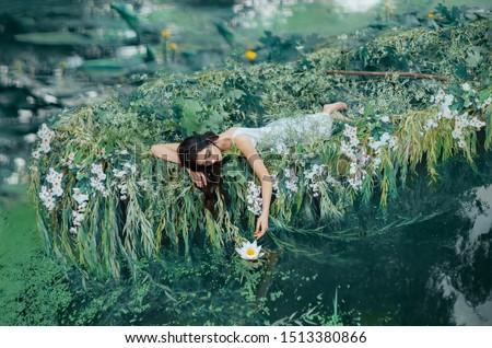 fantasy art photo of a beautiful lady in boat stock photo © artfotodima