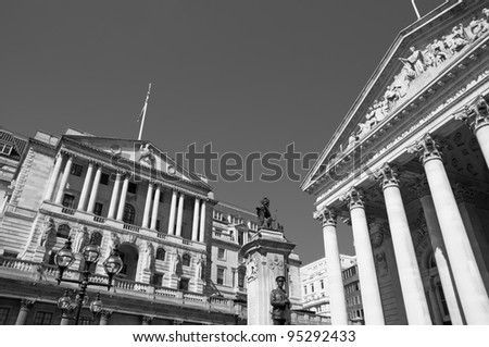 Bank of England, the Royal Exchange in London, the UK. Black taxi cab and red bus. Stock photo © photocreo