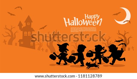 cute happy halloween card with hat witch with bat vector illustration silhouette hand written gre stock photo © khabarushka