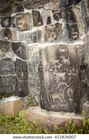 Ancient Petroglyphs Cliff Drawings Ginko Petrified Forest Washin Stock photo © cboswell