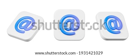 E-mail blue symbol. 3D render illustration. Isolated over white. stock photo © grechka333