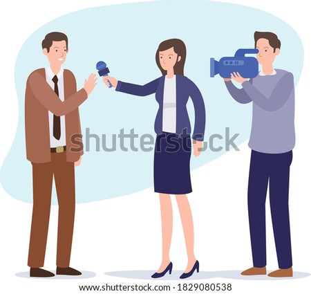 Elegant female journalist conducting business interview or press Stock photo © stevanovicigor