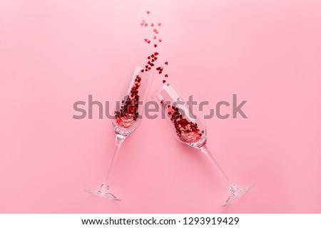 dwa · szampana · okulary · czerwony · christmas · śniegu - zdjęcia stock © janssenkruseproducti