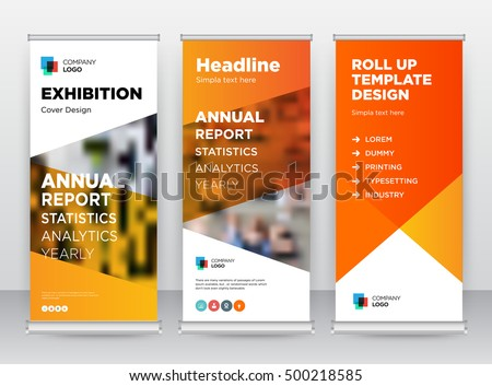 Stock photo: creative blue and white roll up banner design for business presn
