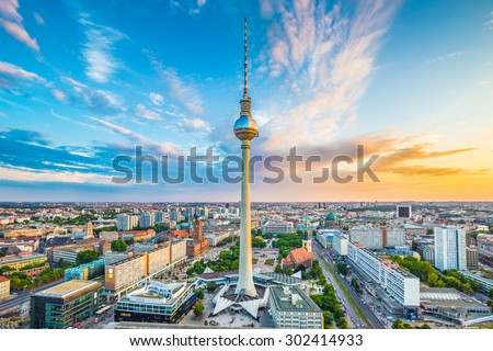 aerial wide-angle view of Berlin skyline with famous TV tower at Stock photo © meinzahn