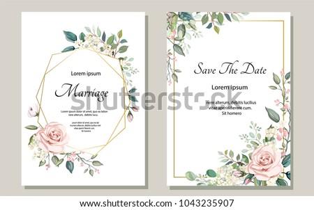 Esküvői meghívó üdvözlőlap design vízfesték virágmintás hatás víz Stock fotó © SArts