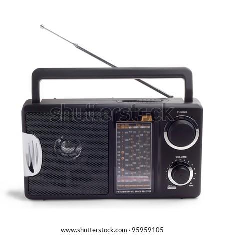vintage black portable transistor radio isolated on white backgr stock photo © qingwa