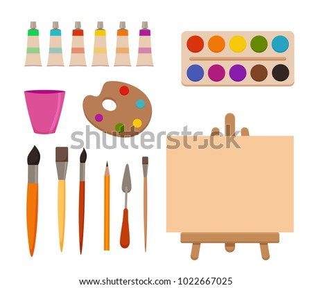 Palette of watercolor paints, brushes and paper for a water colo stock photo © Yatsenko