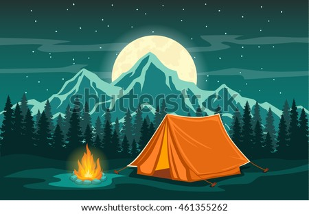 Summer camp. Night Camping. Campfire. Pine forest and rocky mountains. Starry night and moonlight. Stock photo © Leo_Edition