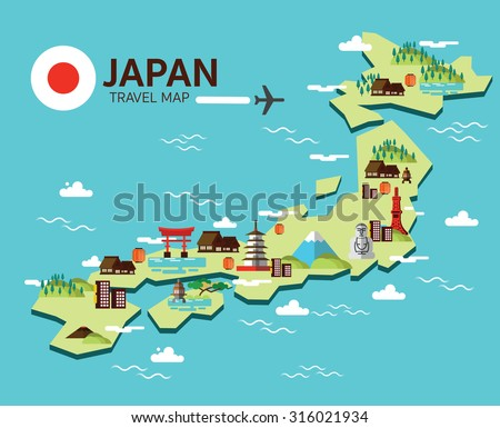 Japan map with Japanese national cultural symbols. Isolated on w Stock photo © curiosity