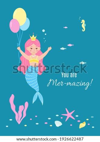 Vector flat style illustration of happy cute mermaid on unicorn. Stock photo © curiosity