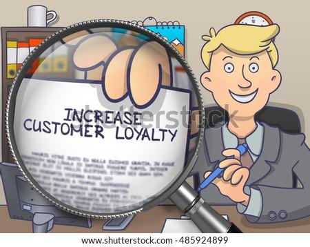Wzrost klienta lojalność lupą gryzmolić papieru Zdjęcia stock © tashatuvango