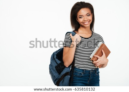 sorridente · africano · adolescente · menina · mochila - foto stock © deandrobot