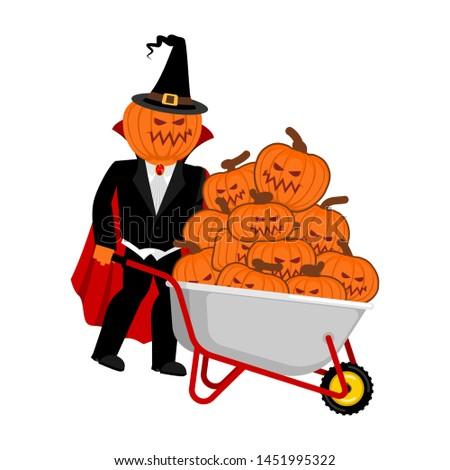 kruiwagen · halloween · bos · verschrikkelijk · pompoenen · vintage - stockfoto © popaukropa
