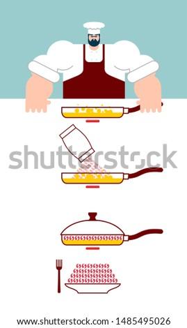 麺 · 料理 · シェフ · 方向 · インスタント - ストックフォト © popaukropa