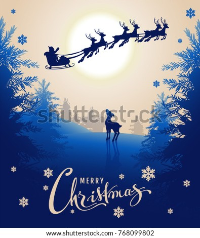 Merry Christmas card design text. Young deer looks up at silhouette Santa sleigh of reindeer in nigh Stock photo © orensila