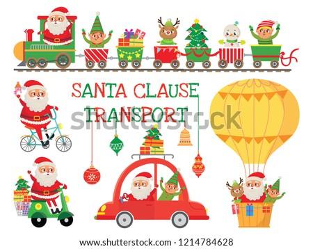 Papai noel veado elfo carro alegre natal Foto stock © MaryValery