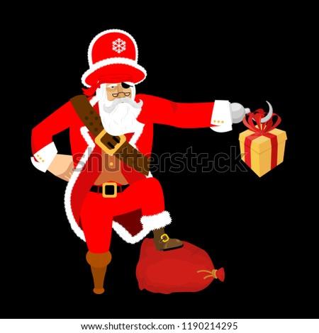 Mikulás kalóz karácsony kalóz ajándék doboz kampó Stock fotó © popaukropa