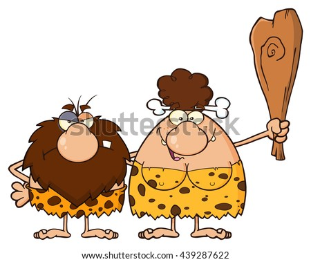 Smiling Brunette Cave Woman Cartoon Mascot Character With Good Idea And Speech Bubble Stock photo © hittoon