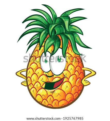 Ananász gyümölcs zöld rajzfilm kabala karakter integet Stock fotó © hittoon