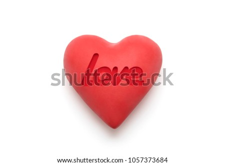 Red heart with imprinted love word over white background with clipping path  Stock photo © sqback