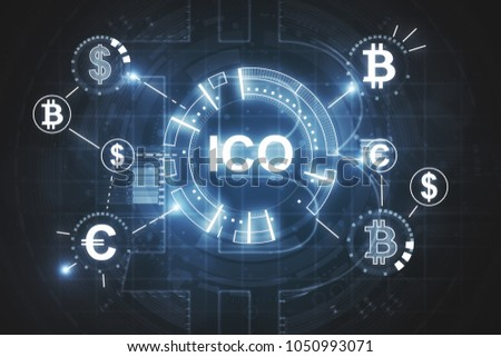 ICO Initial Coin Offering Business Internet Technology Concept on a screen of tablet device, vector  Stock photo © ikopylov