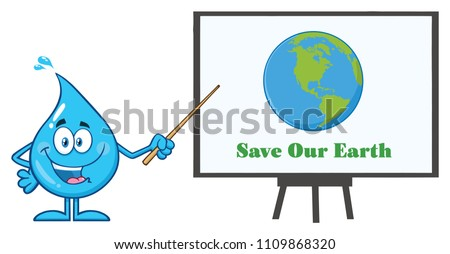 talking blue water drop cartoon mascot character using a pointer stick to save our earth sign stock photo © hittoon