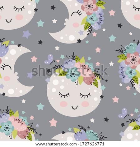 Adormecido padrão sem costura little girl sorrir crianças Foto stock © MaryValery