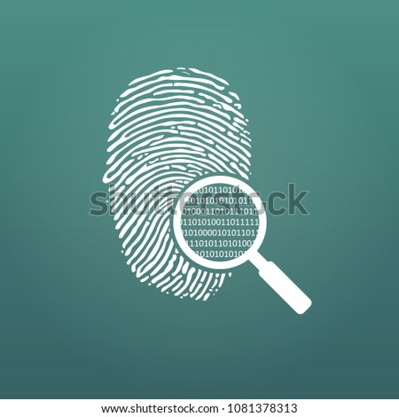 ID fingerprint icon with magnifying glass and matrix 1 0. Fingerprint vector illustration isolated o Stock photo © kyryloff