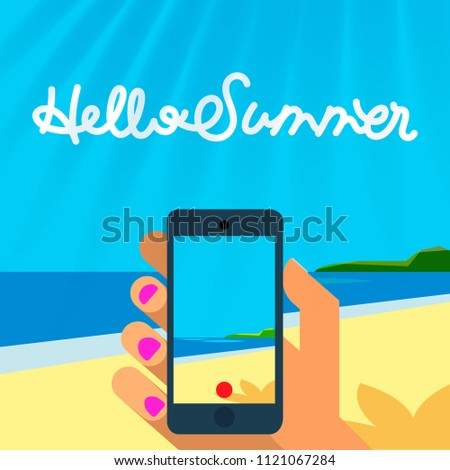 Summer vacation template, smart phone hands hold make and take photo or picture of beach, vector ill Stock photo © ikopylov