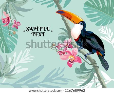 Vecteur vacances d'été typographique illustration oiseau guitare acoustique Photo stock © articular