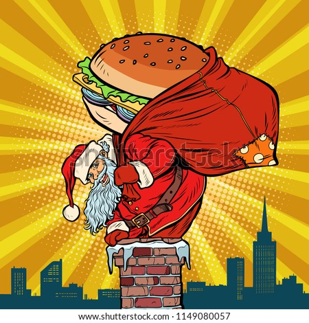 santa claus with a burger climbs into the chimney food delivery stock photo © studiostoks