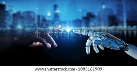 киборг человека рукопожатие изолированный искусственный интеллект бизнеса Сток-фото © MaryValery