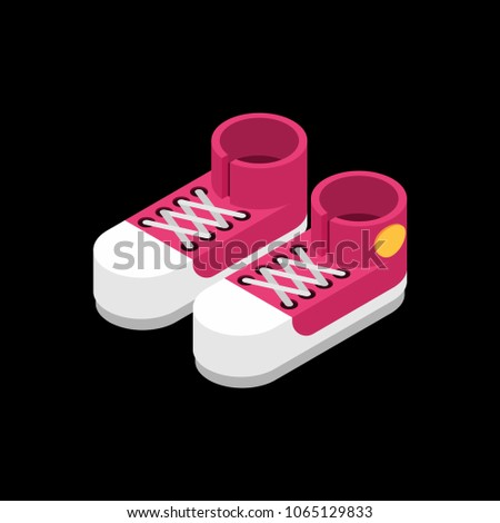 Red Sneakers isometric style. Sport shoes isolated. Vector illus Stock photo © popaukropa