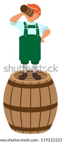 Red haired German leprechaun stands on wooden barrel and drinks beer Stock photo © orensila