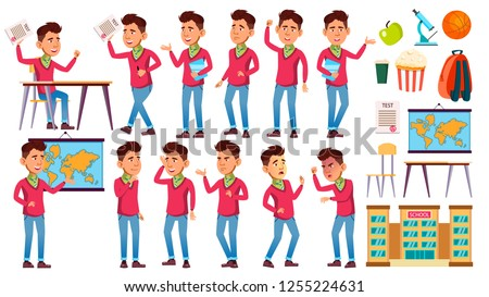 Boy Schoolboy Kid Poses Set Vector. High School Child. Classmate. Life, Emotional, Pose. For Web, Br Stock photo © pikepicture