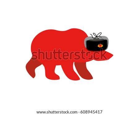 Russian red bear in fur hat. Communist red symbol in USSR. Russi Stock photo © popaukropa