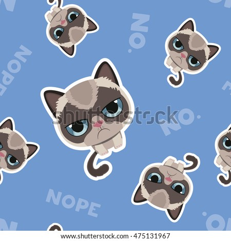 Grumpy cat pattern seamless. Angry pet background. Vector illust Stock photo © MaryValery