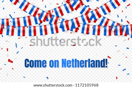 Netherland flags garland on transparent background with confetti. Hang bunting for independence Day  Stock photo © olehsvetiukha