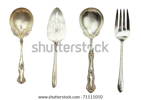 Metal vintage knife and fork isolated on gray background with copy space. Flat lay Stock photo © artjazz
