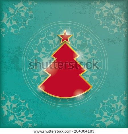 Patterned florid Christmas tree on a green background and the words Merry Christmas. Sample of the p Stock photo © Lady-Luck