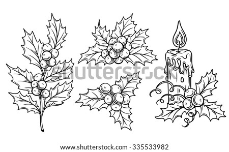 Christmas sketch with burning candle on leaves of Holly. Sample of the poster, invitation and other  Stock photo © Lady-Luck