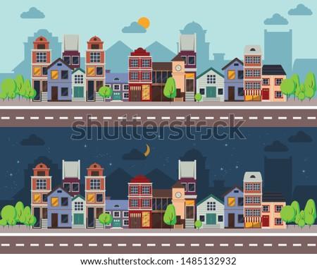kleurrijk · vector · stad · gebouwen · ingesteld · icon - stockfoto © Linetale