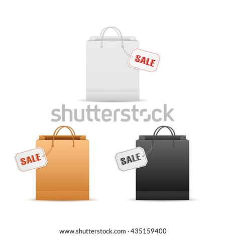 Black Friday Sale. Realistic brown Paper shopping bag with handles and funky tag isolated on white b Stock photo © olehsvetiukha