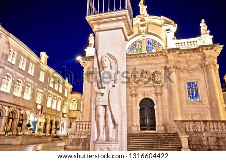 Orlando pillar from 1418 AD and saint Blasius Church in Dubrovni Stock photo © xbrchx