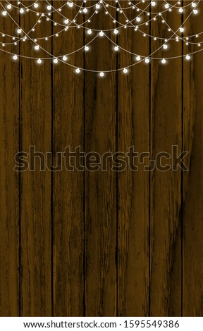 Christmas Fairy Lights on Wood. Christmas Background with String Stock photo © mythja