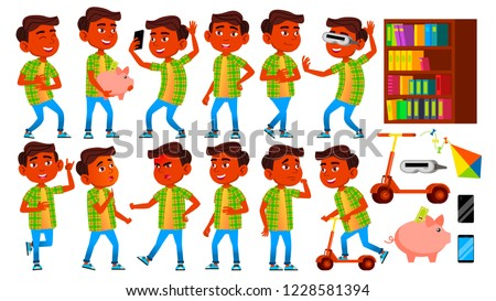 Boy, Child, Kid, Teen Vector. Indian, Hindu. Asian. Schoolchild. Lecture. Face Emotions, Various Ges Stock photo © pikepicture